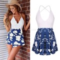 Women Summer Backless One Piece Rompers Women 2015 V-neck Sexy Print Beach Multi Colors Lace Jumpsuit 12
