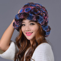 2017 Women S Hats Autumn Female Rex Rabbit Fur Flower Knitted Caps Women Winter Elegant Beanies