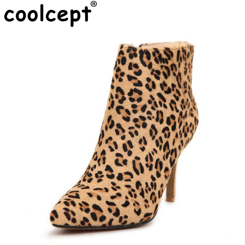 women real genuine leather high heel ankle boots leopard half short botas winter boot heels footwear shoes R7436 size 33-40 women pointed toe real genuine leather high heel ankle boots autumn winter wedding boot heels footwear shoes r7976 size 34 39