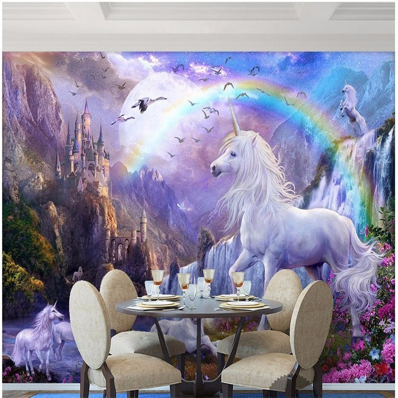 Custom-3d-photo-wallpaper-3d-wall-mural-wallpaper-Blue-sky-rainbow-waterfall-white-horse-animal-landscape (1)
