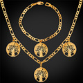 Tree Of Life Necklace Bracelet Set For Women Men Figaro Charm Necklace  Gold/Platinum Plated Plant Necklace Jewelry