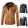 2016 de la moda tapa Desmontable chaqueta de cuero de cuero cultiva su moralidad Hombres lava locomotora abrigo de cuero