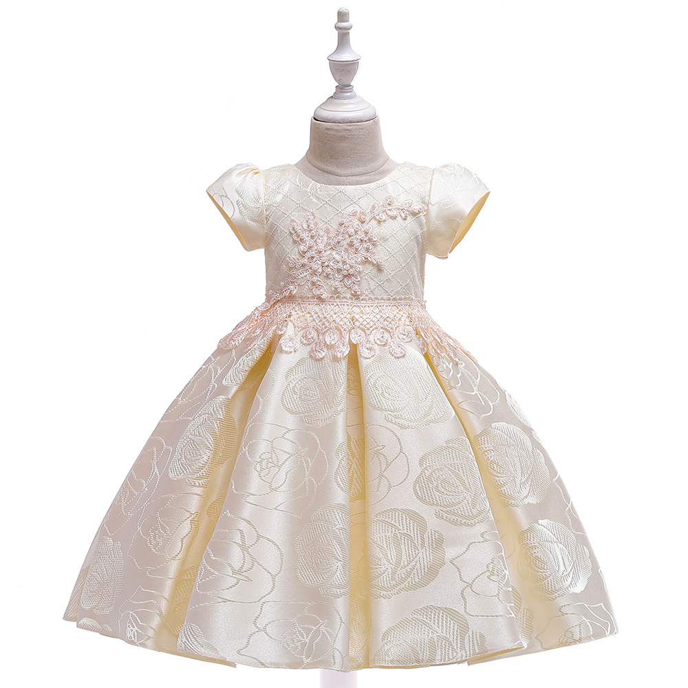 New 2019 Ballgown Little   Girls   for Children Day Short Sleeves Satin First Communion Gowns For Evening Party