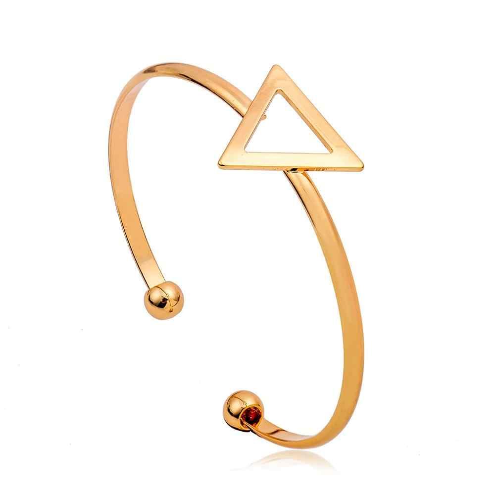 Новинка в стиле панк Модные женские Медь Металл золото серебро черный вырез круг, квадрат треугольник Гео манжеты браслет