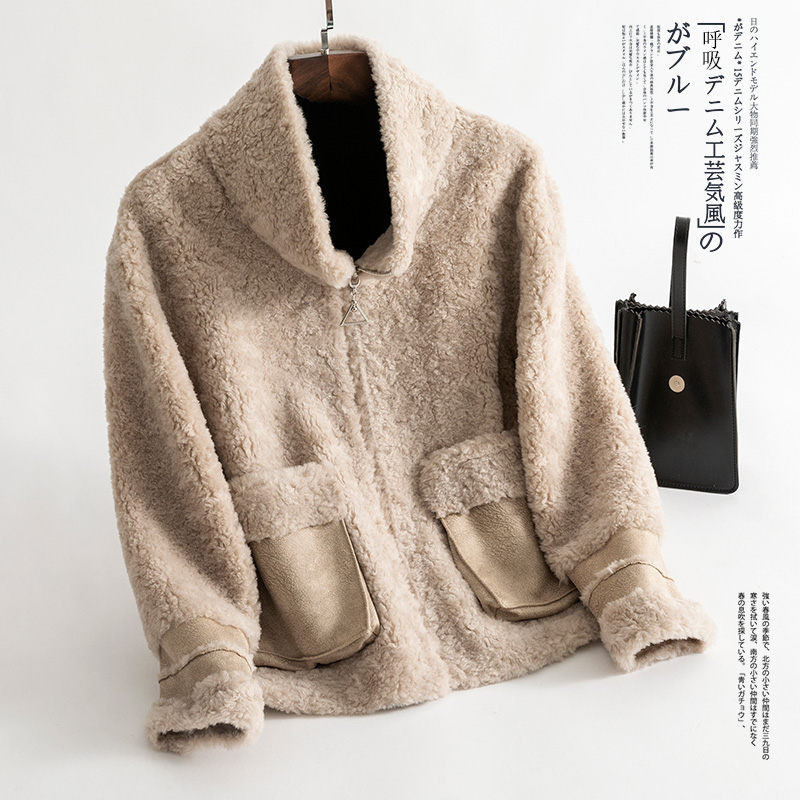 Coréen Laine Réel beige Red De coffee Vintage Vêtements Femmes 100 2018 Femme Manteau Mouton Fourrure Automne Zt1377 Veste Hiver 8xwzgzqd