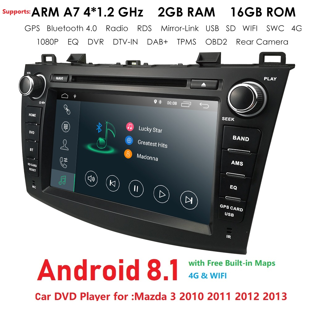 "HIZPO 8""Android 8.1 2 din car dvd multimedia stere for Mazda 3 gps navigation Mazda 3 auto audio radio RDS Mirror-link Bluetooth"
