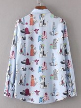 Blouse New Women Ladies Loose Plain Fall Cute Lapel Long Sleeve Print Button Up Shirt Casual Office Work Tops