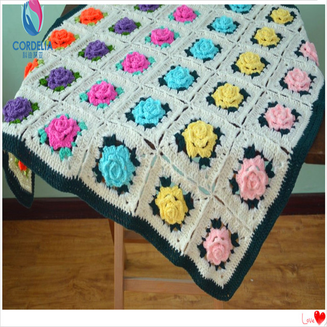 free shipping european luxury cotton knitted colorful throw blanket