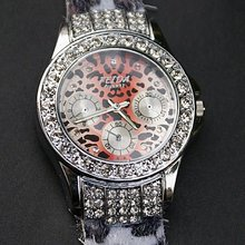 Trendy Design Crystal watch Leopard watch Leather Lady Watch New freeship cool