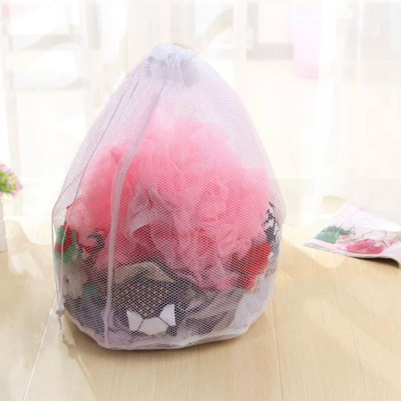 Drawstring Bag Mesh Clothes Storage Home Washing Pouch Bra Laundry Bags Baskets Mesh Bag Household Cleaning Tools Accessories