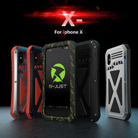 For Apple iPhone X Metal Case Luxury 3D Glitter Hard Aluminum+Soft Silicone Armor 360 Full Protective Back Phone Case Cover Capa