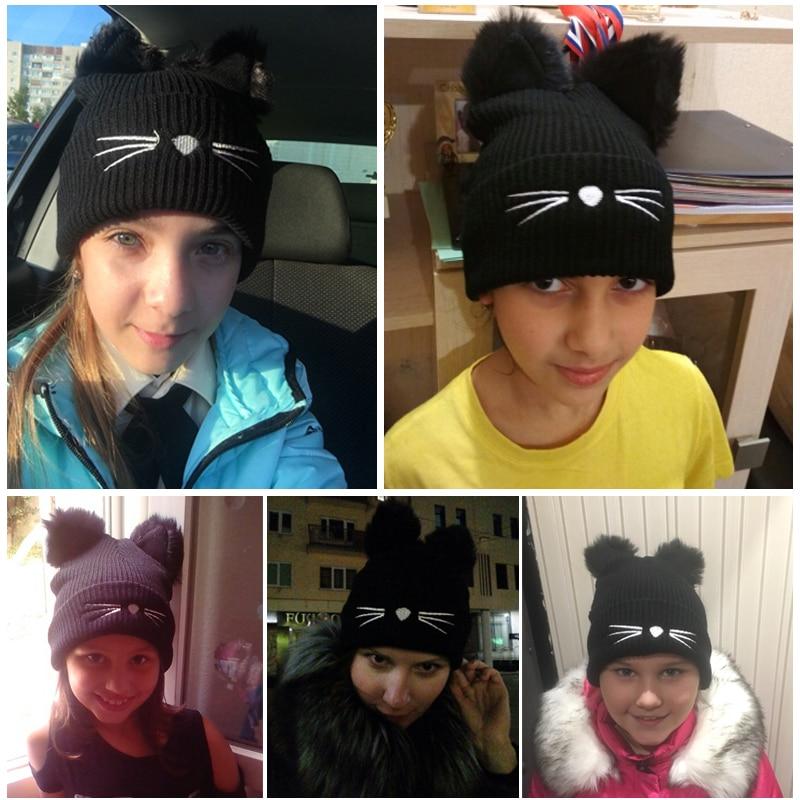 ... Knitted Women Cat Ears Faux Mink Hats Skullies Fur Pompom Caps Female  Beanies Bonnet Femme. В избранное. gallery image. Наведите мышкой для  увеличения ... ea191d0493fb