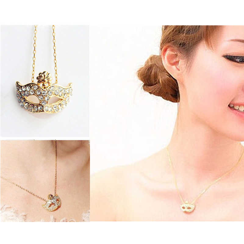 x76 New Gold Color Mask Design Long Pendant Necklace For Women Charming Shining Crystal Mask Pendant Necklace Wholesale Selling
