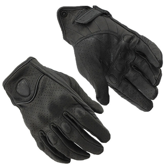 EE support  men and women black full leather punching full finger gloves motos motorcycle outdoor sports  protective gloves XY01