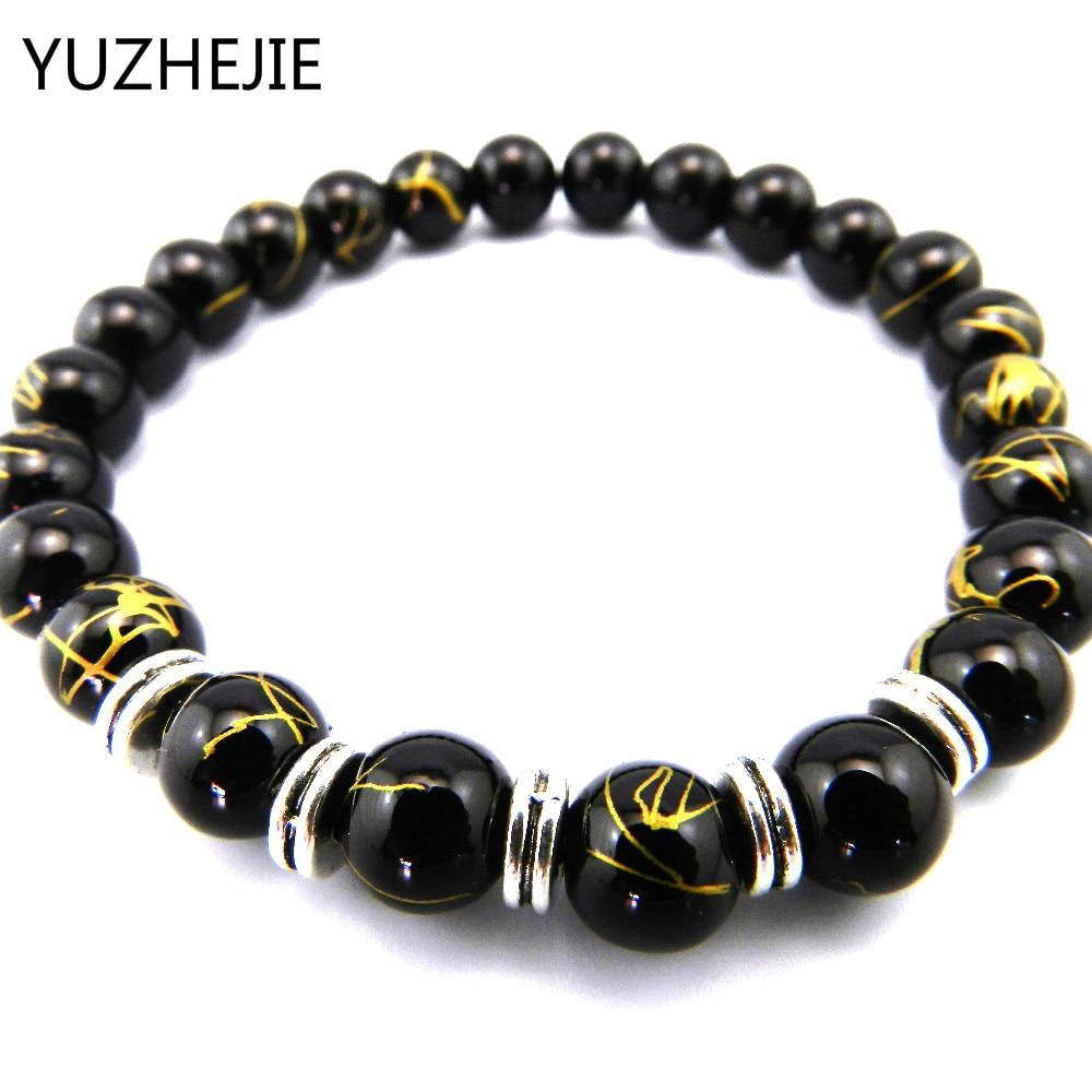 YUZHEJIE 2018 Casual Black Beads Men Strand Bracelets With Stones Silver Bracelets & Bangles Brand Jewelry Pulseira Masculina
