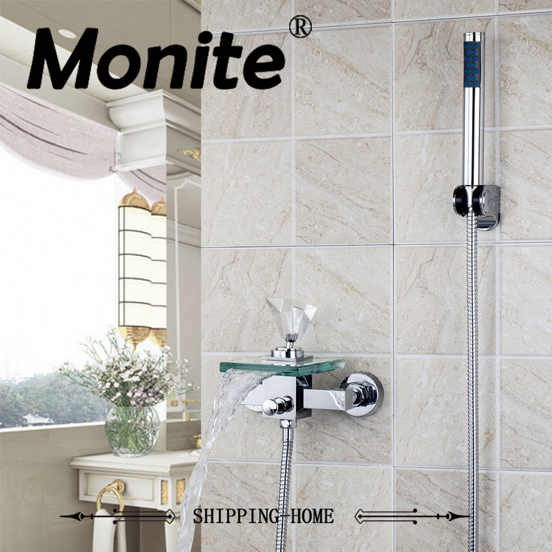 Bathtub Faucet Waterfall Glass Spout Crystal Diamond Handle Wall Mounted Bathroom Bath Handheld Shower Tap Mixer Faucet free shipping polished chrome finish new wall mounted waterfall bathroom bathtub handheld shower tap mixer faucet yt 5330