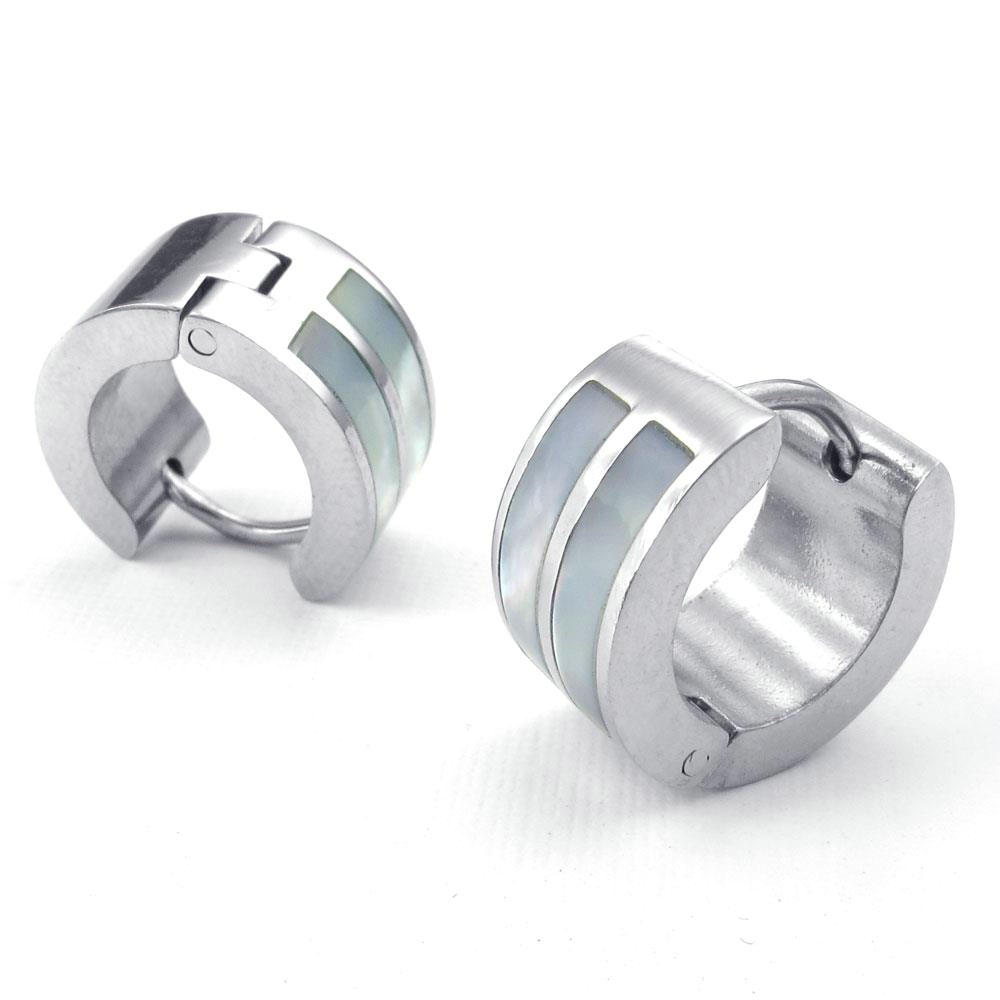Jewelry Mens Womens Abalone Stainless Steel Stud Huggie Hoop Earrings Set,  Silver White Gold White
