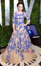 Blau Appliques A-linie Bodenlangen Tüll Abendkleider 2016 ZAHY Halbarm Taste Covered Zurück Celebrity Dress WL168