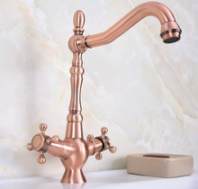 цены Antique Red Copper Brass Dual Cross Handles Bathroom Kitchen Basin Sink Faucet Mixer Tap Swivel Spout Deck Mounted mnf617