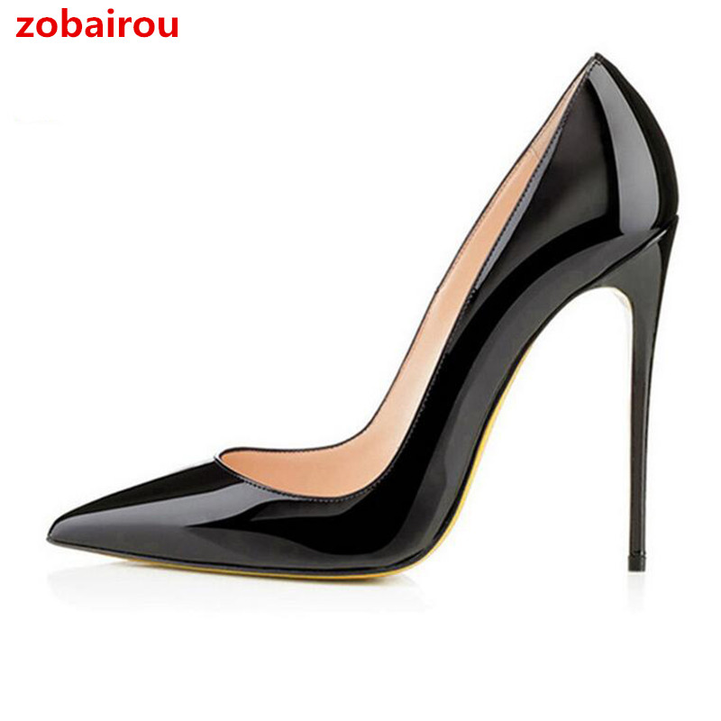 fa7be041725 Zobairou Brand 12CM High Heel Shoes Woman Sexy Pointed Toe Wedding Bridal  Shoes Black Nude Heels