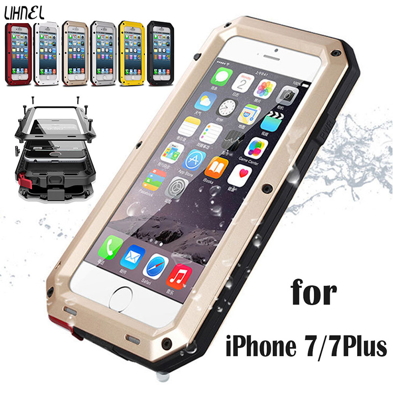 Military Heavy Duty 1:1 Doom armor Dirt strong Waterproof Shockproof Metal Aluminum phone case For iphone 7 7Plus 5.5″