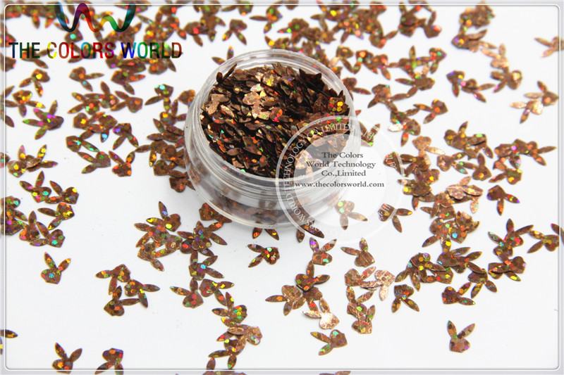 STTL-84 7mm Size Amazing Glitter Sequins Laser Coffee Color Rabbit Head Shaped Sequins  For Nail Art Or DIY Decoration 1pack=50g