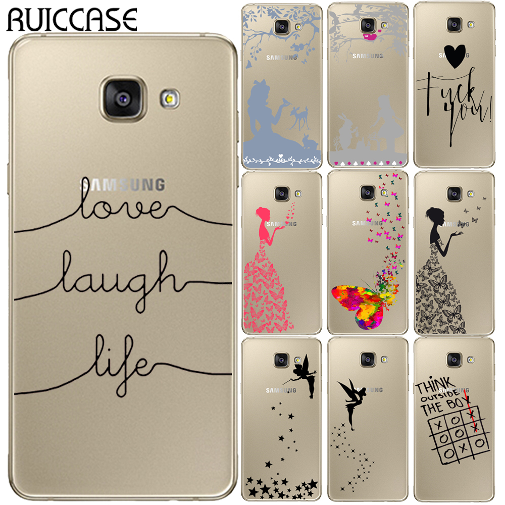 Galleria fotografica Love Laugh Life Case For Coque Samsung Galaxy A3 A5 A7 2016 2017 A320 A520 A6 Plus A8 Plus A7 2018 Butterfly Tinker Bell Cover