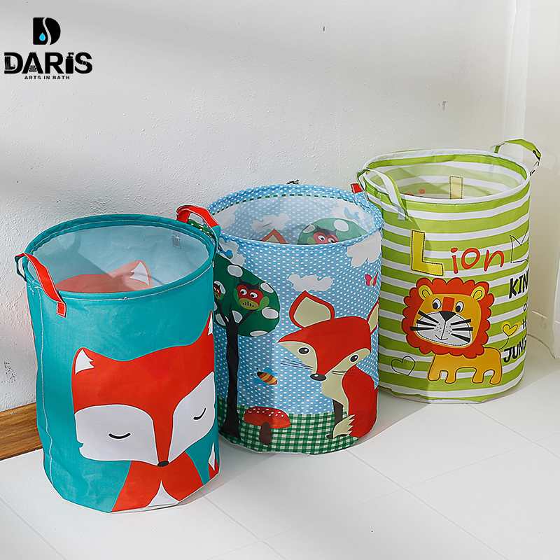 Cute Cartoon Cat Printed Folded Storage Basket Canvas Fabric Storage Barrel Bucket Container For Toy Clothes