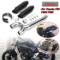2 x Exhaust Pipe+1 x Link Pipe For Yamaha FZ6 FZ6N FZ6S Exhaust Muffler Pipe Middle Mid Link Pipe Exhaust System Stainless Steel