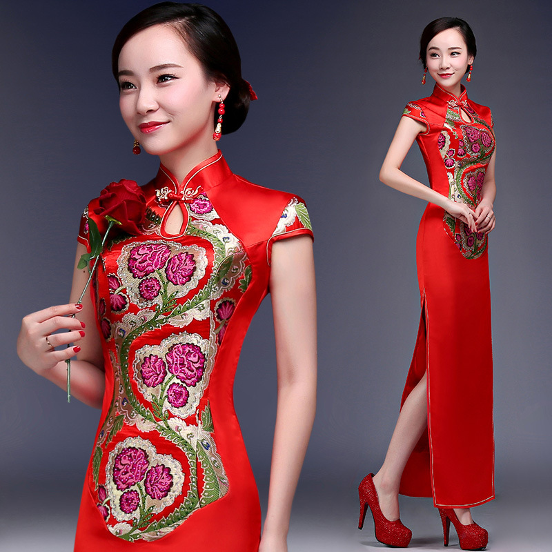 Summer New Red Chinese Cheongsam Bride Wedding Qipao Party Dress Women Satin Long Slim Flower Embroidery Cheongsam S M L XL XXL s xl 2016 new summer