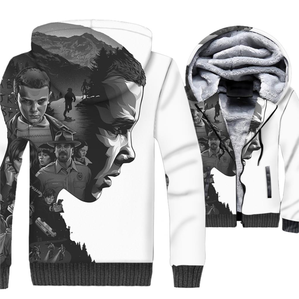 men casual streetwear tracksuits stranger things 3D printed hoodies 2019 winter rib sleeve jackets coats man fitness sweatshirts