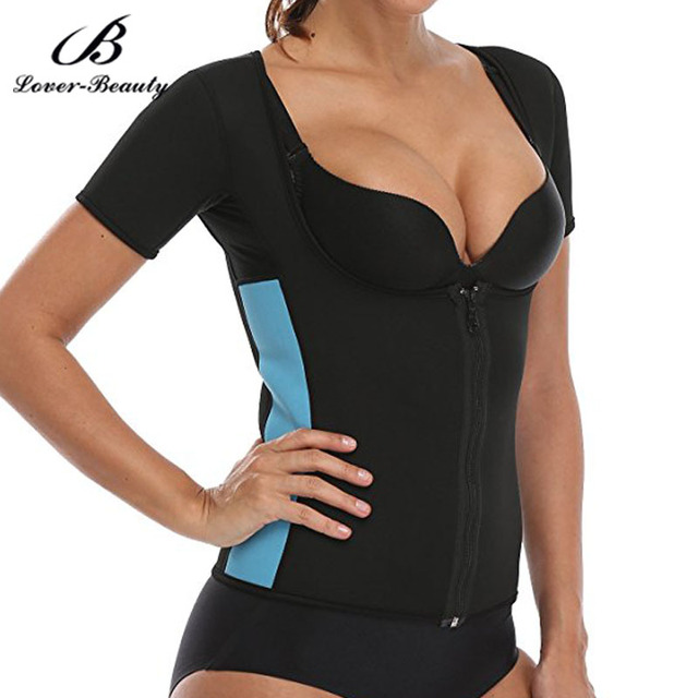 2763929ca1 Lover Beauty Women s Neoprene Sauna Vest With Sleeves Hot Workout Suit Weight  Loss Body Shaper Fat Burner Waist Trainer Belt-A