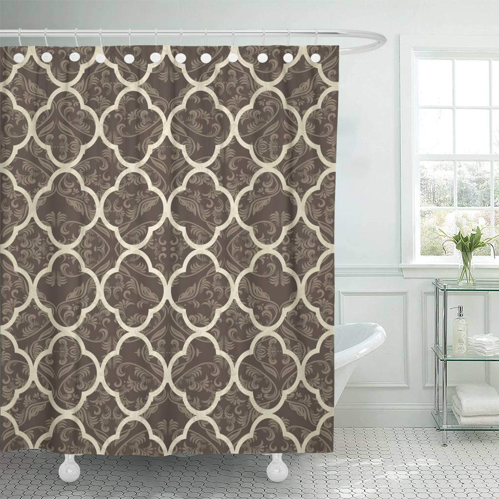 Polyester Street Cafe Pattern Shower Curtain Ring Hook Set