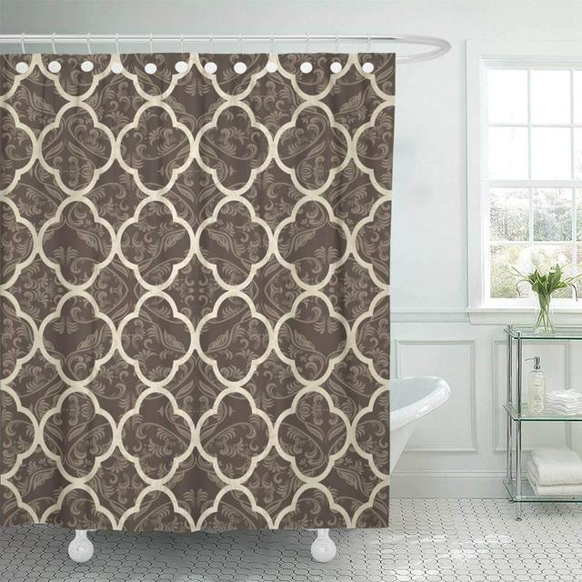 Fabric Shower Curtain With Hooks Beige Quilt Vintage Victorian Pattern Abstract Classic Harlequin Retro Traditional