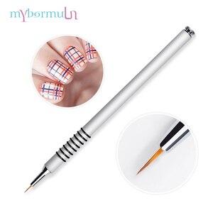 1 шт., 7 мм, кисть для подводки ногтей, кисти для нейл-арта с серебряной ручкой, маникюрные щетки, инструменты для нейл-арта, высокое качество