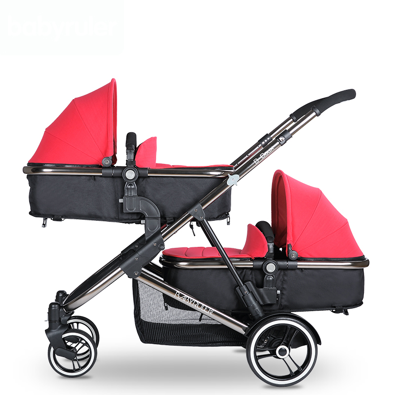 Brand baby twins strollers Babyruler twins baby stroller folding double stroller child baby stroller double stroller red pink blue color twins infant stroller sale kids sleep comfortable more at ease sophisticated technologies