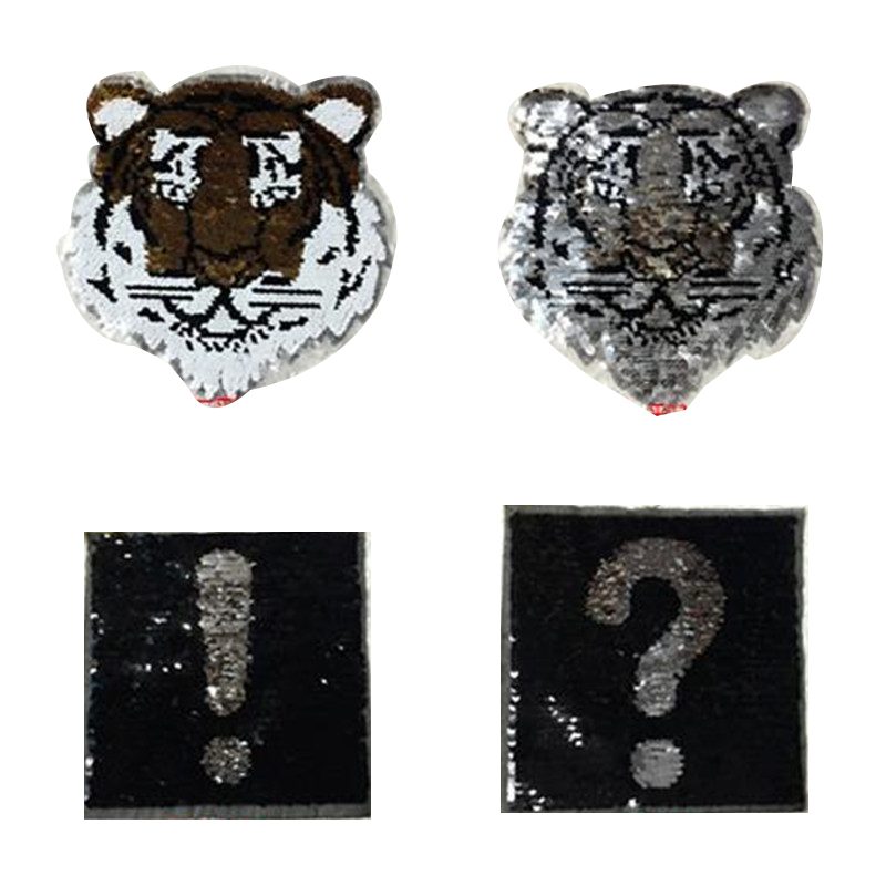 Women 23cm tiger patches for clothing funny t shirts reversible sequins ? mark patch deal with it clothes for girls stickers