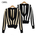 ORMELL Deep V Neck Stripped Knitted Tops Women Pullover Sexy Office Lady Crop Top Elegant Female Spring Tops