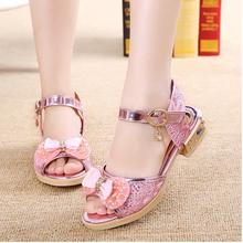 Summer Style Baby Girl Sandals 2017 New Bling Kids Wedding Shoes Bowtie Girls Gladiator Sandals Shoes for Girls Sandals