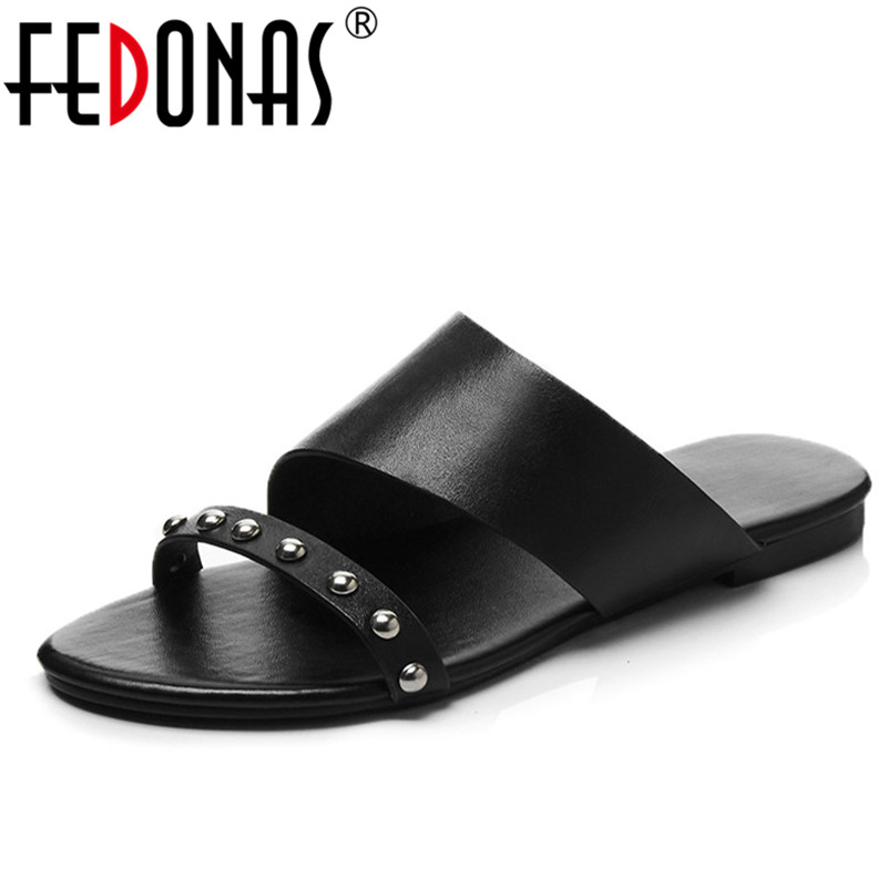 FEDONAS Flats Summer Sandals For Women Genuine Leather Shoes Woman Gladiator Comfortable Flats Heels Casual Shoes Slippers fedonas brand women summer gladiator low heeled sandals fashion comfort slippers genuine leather elegant shoes woman sandals