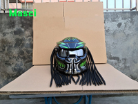2017 New Masei Predators mask carbon fiber motorcycle helmet Full face iron man moto helmet Safety DOT High quality green visor