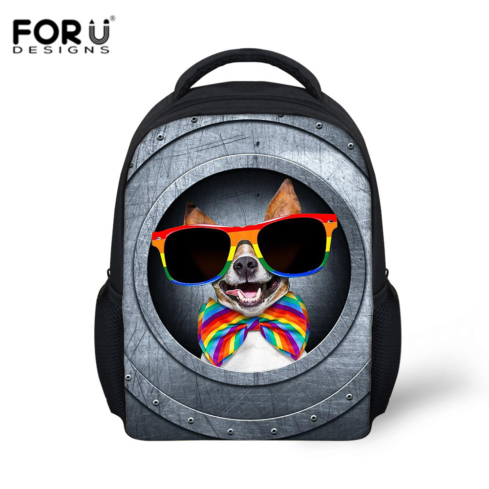 FORUDESIGNS Children School Bag Metal Pocket Dogs Print Baby Backpack Boy Gril School Bags Gift For Kid Backpack Mochila Escolar