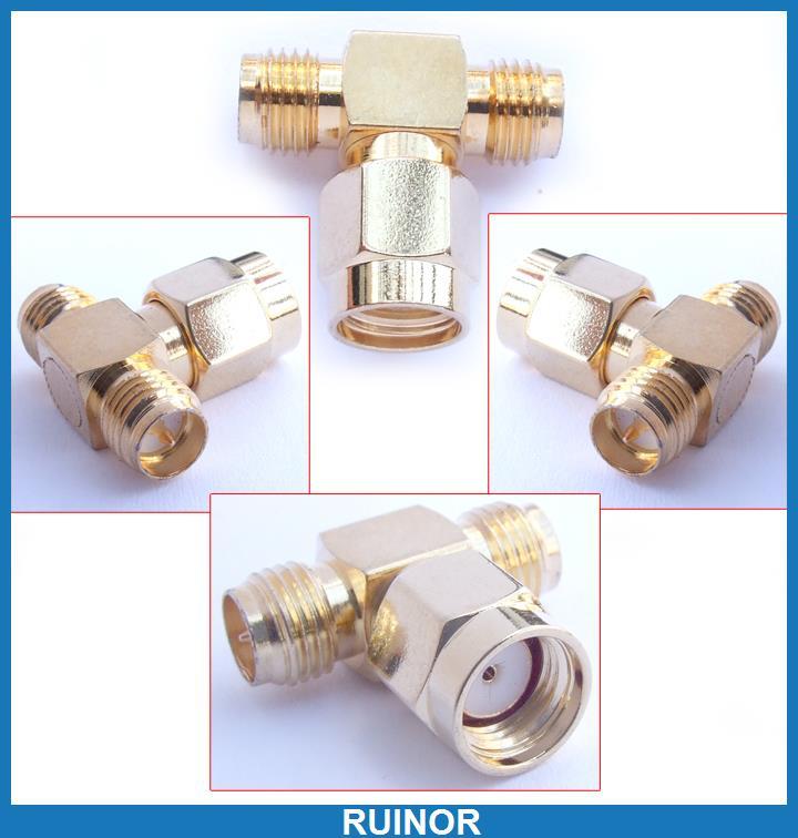 ФОТО 20pcs RP SMA Female to 2 Double SMA Male Plug T Adapter