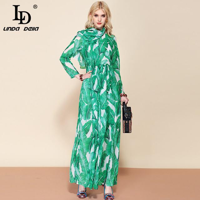 Maxi Dress Women's Long Sleeve Chiffon Floral Print Bohemian Holiday Long Dress + Belted