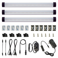Under Above Cabinet LED Puck Lights Kit Rigid Bar With Dial Dimmer Switch For Kitchen Counter