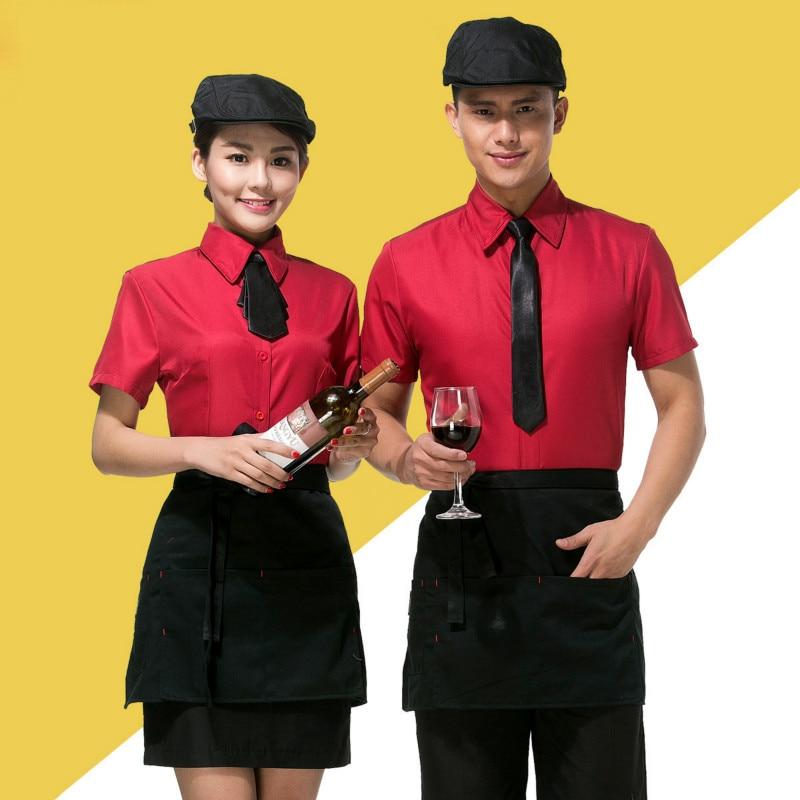 Waitress Work Clothes Jacket Short-sleeved Female Cafe Club Overalls Restaurant Hot Pot Shop Hotel Waiter Male Single Top H2250