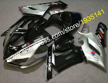 ZX-6R Fairing 2005 2006 For Kawasaki fairings kit Ninja ZX6R 05 06 cowling silver black ZX 6R 636 (Injection molding)
