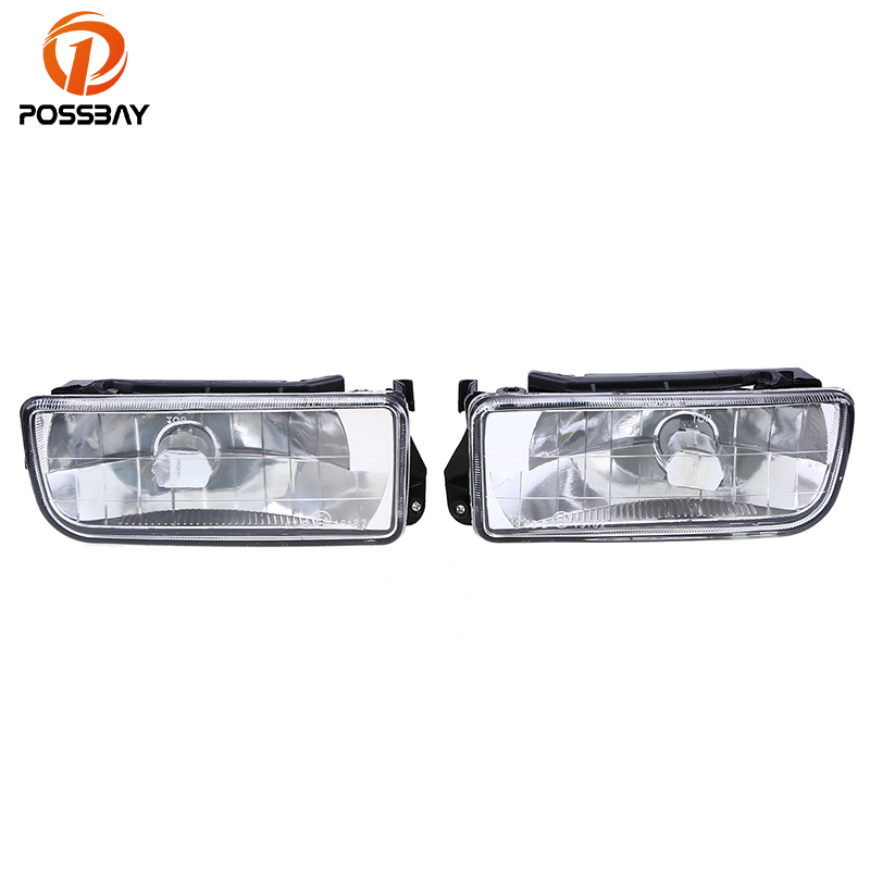 POSSBAY Car Fog Lights Lamp Clear Crystal Lens for BMW E36 3-Series 1990-2000 Car Fog Light Housing Auto Replacement 2pcs right left fog light lamp for b mw e39 5 series 528i 540i 535i 1997 2000 e36 z3 2001 63178360575 63178360576