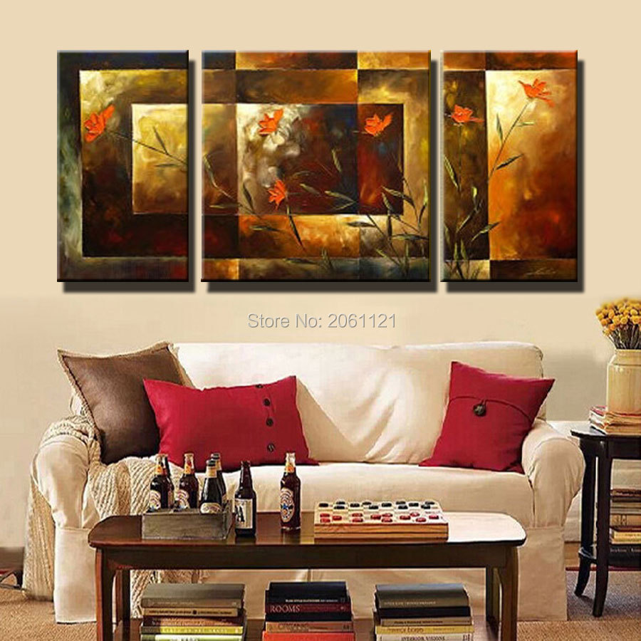 Tangan-dicat ukuran Besar 3 pcs / set abstrak wall art home decor - Dekorasi rumah - Foto 6
