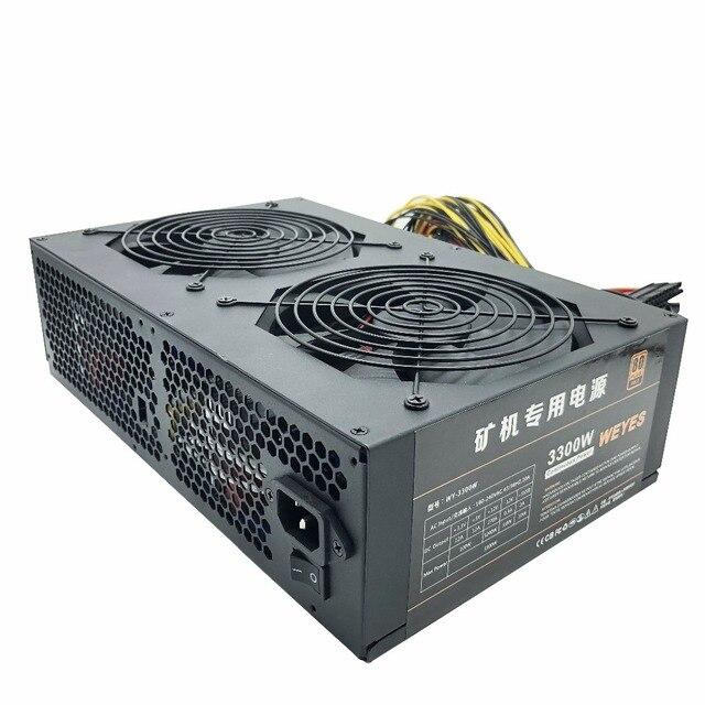 3300W Power Supply 8 GPU 6+2PIN Silent Mining Miner Machine Black For Ethereum Machine High Quality computer power supply